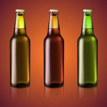 Vector illustration of three bottles of beer - vector gratuit #128900