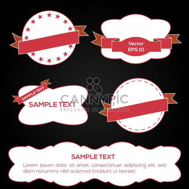 Set of vector white and red ribbons and labels - Free vector #128910