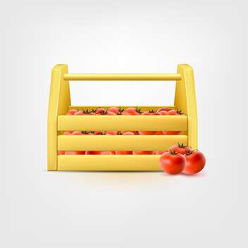 Red tomatoes in wooden horizontal box - Kostenloses vector #128930