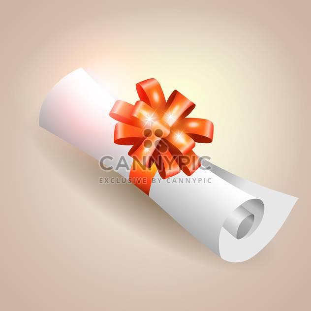 Vector illustration of parchment scroll with red ribbon - Free vector #128950