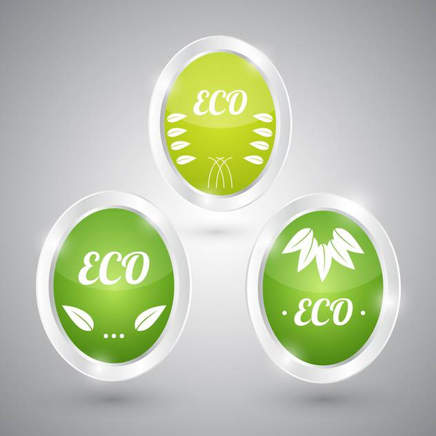 set of green eco natural signs - vector gratuit #129110