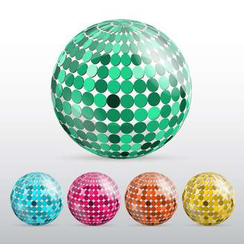 glossy colorful disco balls - vector gratuit #129150