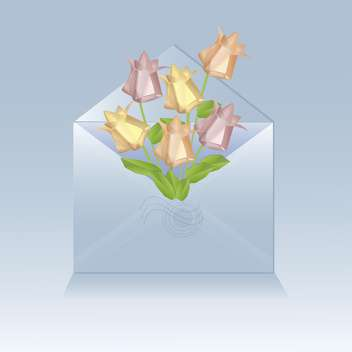 open envelope with origami flowers - vector #129200 gratis
