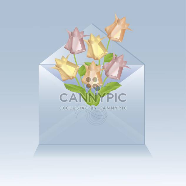 open envelope with origami flowers - Free vector #129200