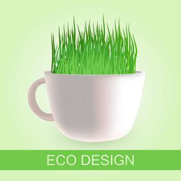 eco design with fresh grass in cup - vector gratuit #129260