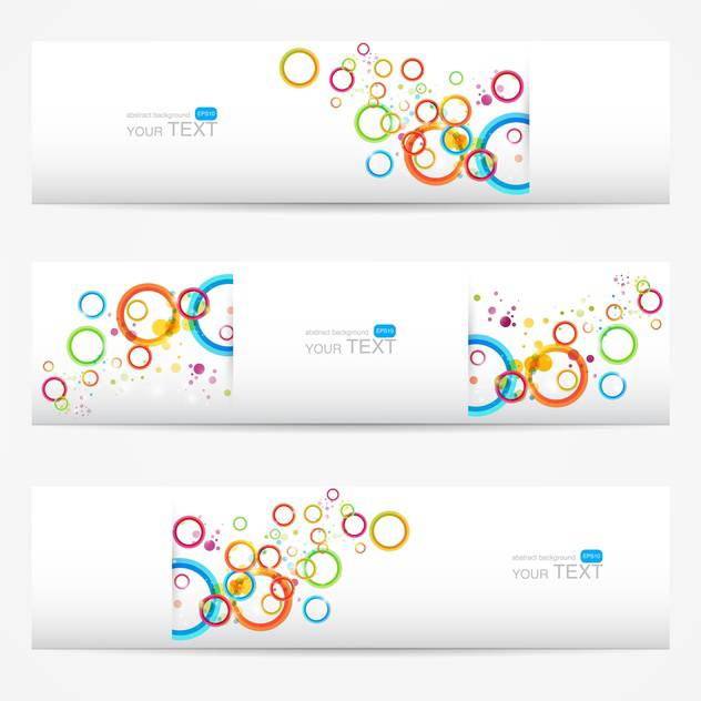Abstract vector white cards with colorful circles - vector gratuit #129290