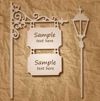 Vector wooden signs on pole with streetlight - vector gratuit #129310
