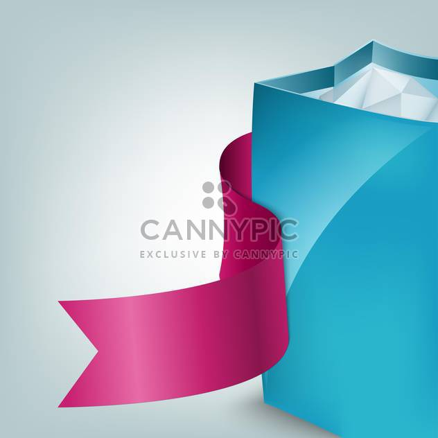 Vector illustration of blue shopping bag with pink ribbon - Free vector #129320