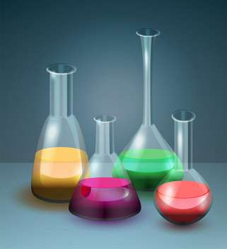 Vector illustration of laboratory flasks with colorful liquid - vector gratuit #129330