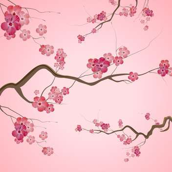 Branches with pink spring flowers on pink background - vector gratuit #129390