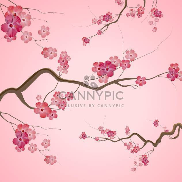 Branches with pink spring flowers on pink background - Free vector #129390
