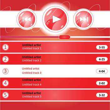 Vector illustration of red media player interface design - Free vector #129400
