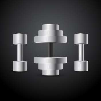 Vector illustration of gray dumbbells on black background - vector gratuit #129410