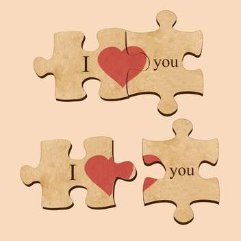 Vector illustration of love puzzles with hearts - vector gratuit #129450