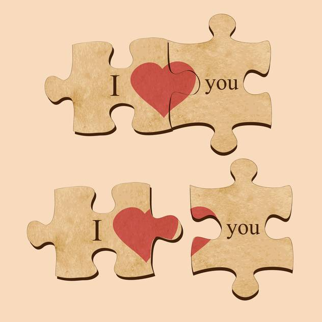 Vector illustration of love puzzles with hearts - Free vector #129450