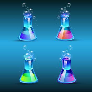 Vector set of glass flasks with colorful liquid on blue background - бесплатный vector #129460