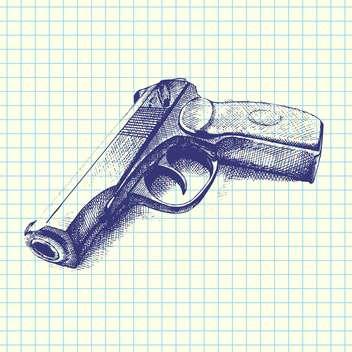 Vector illustration of hand drawn gun on chequered paper background - vector gratuit #129470