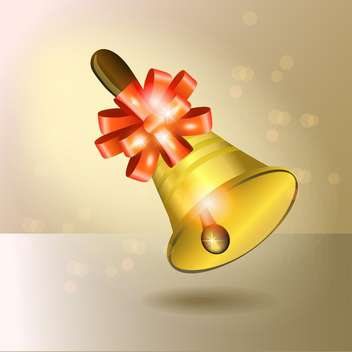 Vector golden bell with red ribbon on yellow background - бесплатный vector #129490