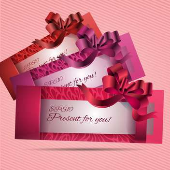 Vector set of beautiful cards with red bows and ribbons - vector gratuit #129500