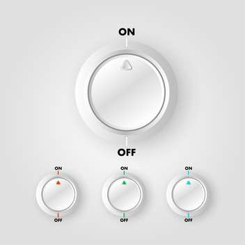 Vector set of on and off buttons on gray background - бесплатный vector #129540