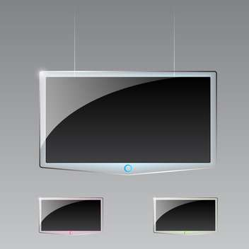 Vector illustration of three modern led TVs on gray background - бесплатный vector #129560