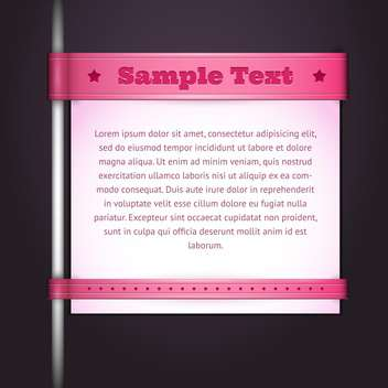 Vector pink banner with pillar on black background - vector gratuit #129570