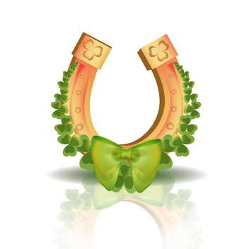 Vector horseshoe and clover leaves with reflection on white background - vector gratuit #129580