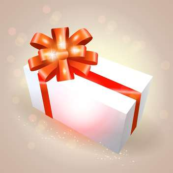 Vector gift box with red ribbon on light background - Free vector #129670