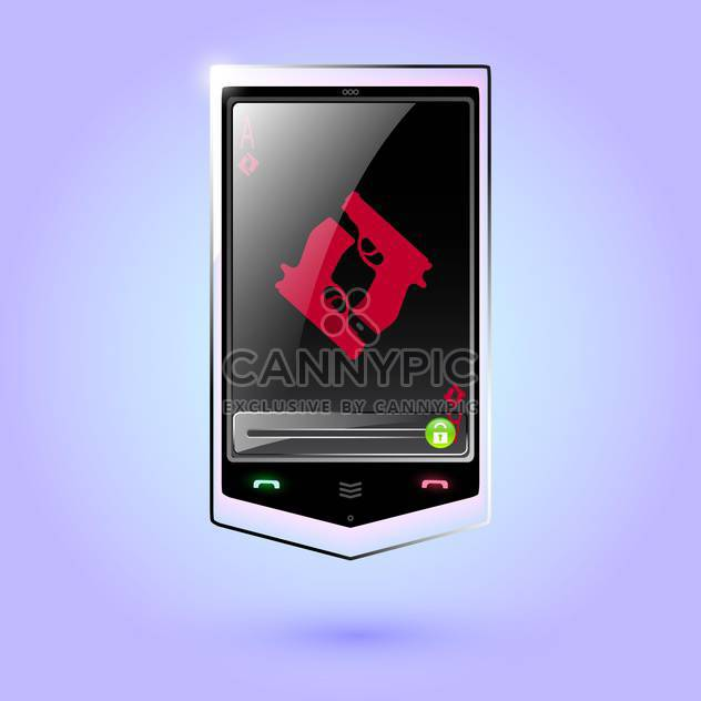 Vector illustration of black touch phone with guns on screen on purple background - Free vector #129690