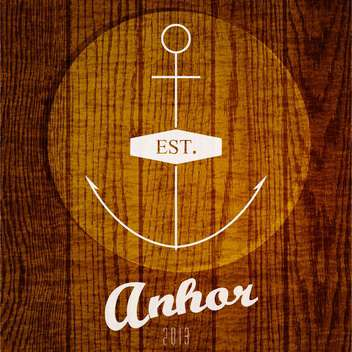 Vector logo with anchor on wooden background - vector gratuit #129700