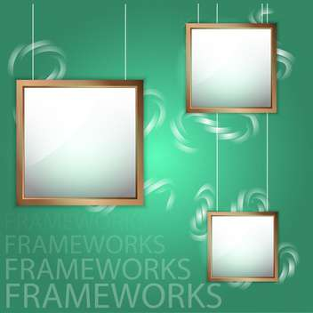 Vector wooden empty picture frames on green background - Free vector #129810