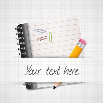 Vector illustration of yellow pencil and notepad with place for text on chequered background - Free vector #129890