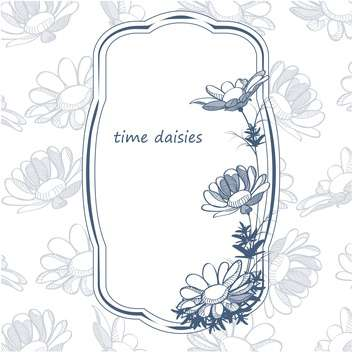 Vector background with floral frame with daisies - Free vector #129900