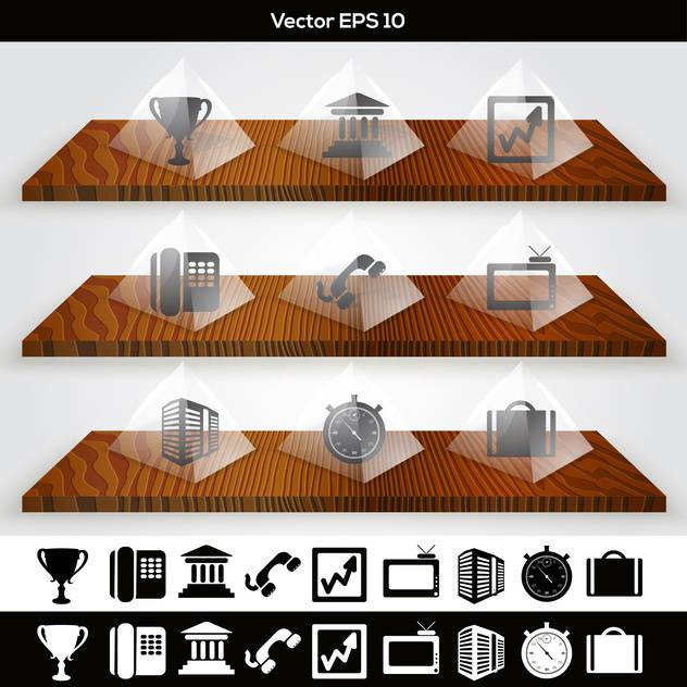 Vector set of business buttons on wooden shelves - бесплатный vector #129920
