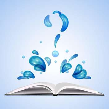 Water question mark over open book on blue background - vector gratuit #129960