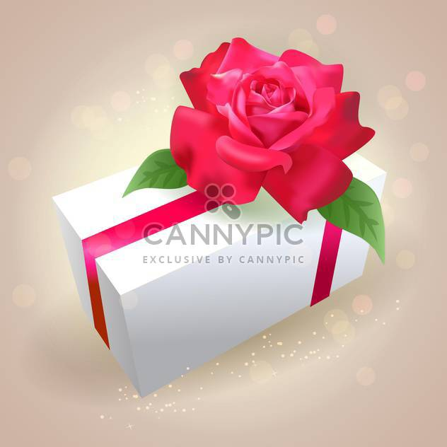 Gift box with red rose on shiny background - Free vector #130000