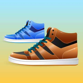 Vector pair of sneakers on blue and yellow background - Free vector #130030