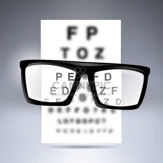 Vector test alphabet with glasses on grey background - Free vector #130080