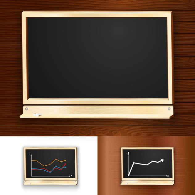 Vector illustration of blackboards on wooden background - vector gratuit #130110