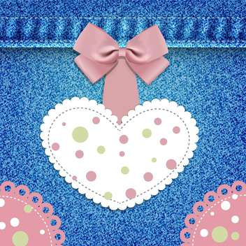 greeting card with heart and bow on denim background - vector gratuit #130140