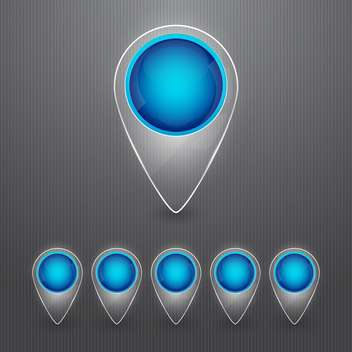 Set of round blue map pointers on grey background - vector gratuit #130150