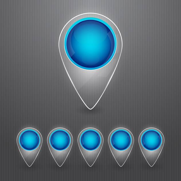 Set of round blue map pointers on grey background - Free vector #130150