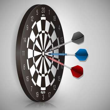 Vector illustration of colorful darts hitting a target - vector #130230 gratis