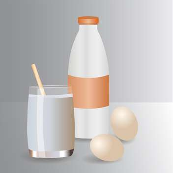Milk products and eggs vector icons - vector gratuit #130390