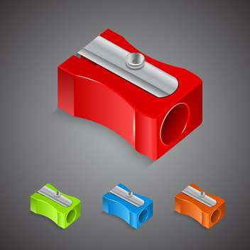 Set with plastic colored pencil sharpeners - vector gratuit #130410