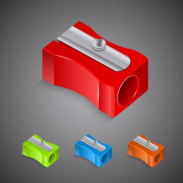 Set with plastic colored pencil sharpeners - vector #130410 gratis