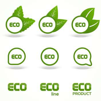 Vector Green Eco Symbols on white background - Kostenloses vector #130420
