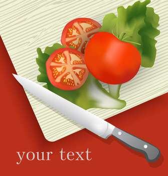 tomatoes and knife on cutting board - vector gratuit #130500