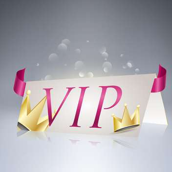 Vector illustration of VIP card with crowns and ribbon - бесплатный vector #130530