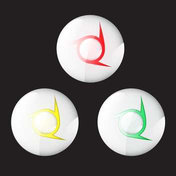 Vector round shaped buttons on black background - бесплатный vector #130620